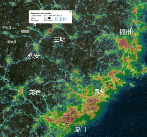 旦上村位置示意图,沿海光害令人发指。
