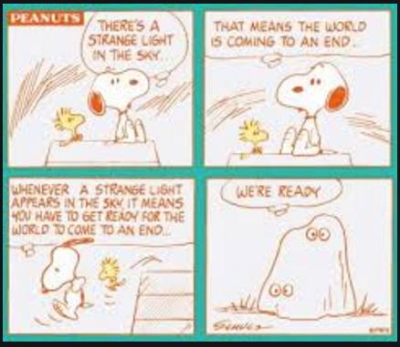 史努比和它的小伙伴糊涂塌客以为这道奇怪的光线意味着世界末日的来临