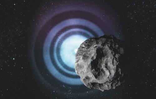 艺术家笔下星光在小行星阴影边缘投下的衍射条纹。(图片提供:DESY/Lucid Berlin)