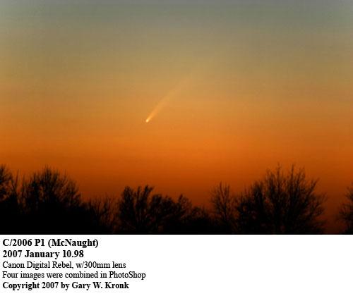 1月8日到10日,美国的Gary W. Kronk连续三天拍摄到暮光中的彗星。