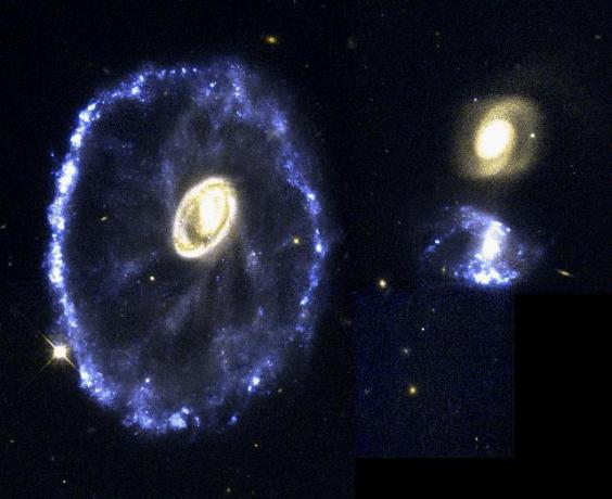 1995年1月10日,HST观测了车轮星系,这样的形状应该是源于两个星系的正面撞击。