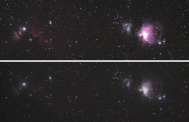 上图为天文改机拍摄,下图为未改机拍摄;版权:酱油颜
