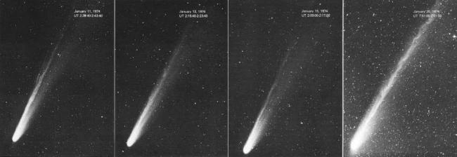 1974年1月11日到1月20日,科胡特克彗星外观的变化。