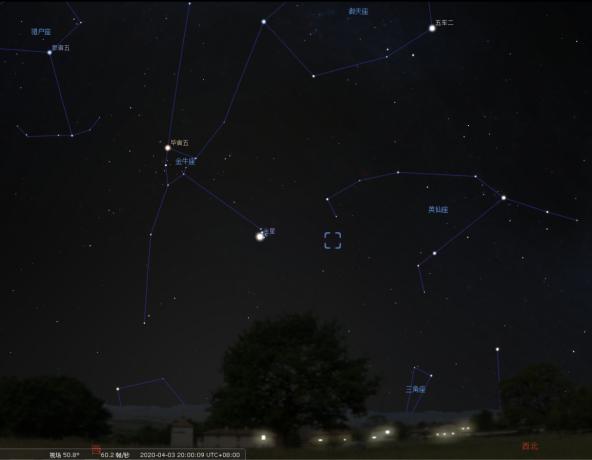 4月3日晚上8点钟,西方天空中的星象模拟。