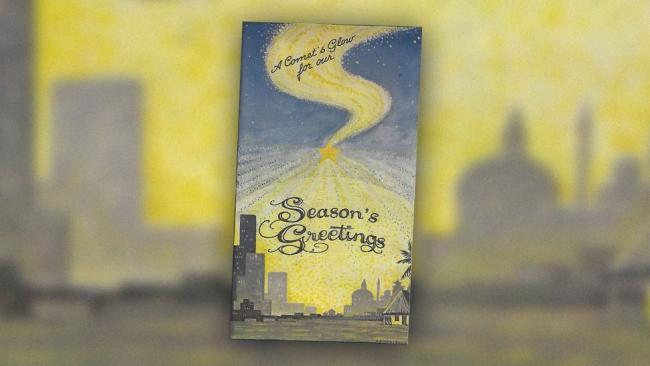 1973年的圣诞贺卡,贺卡封面画着的就是科胡特克彗星