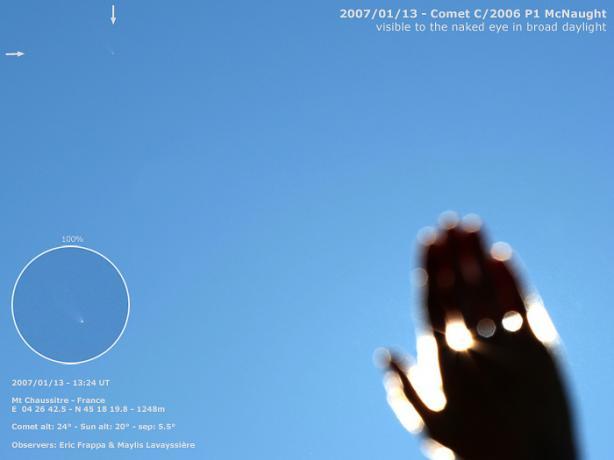 1月13日,法国的Eric Frappa在午后拍摄到距离太阳仅有5.5°的彗星