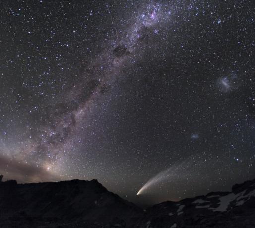 1月28日,阿根廷的Milosav Druckmuller拍摄到的彗星与银河及大、小麦哲伦星云交相辉映