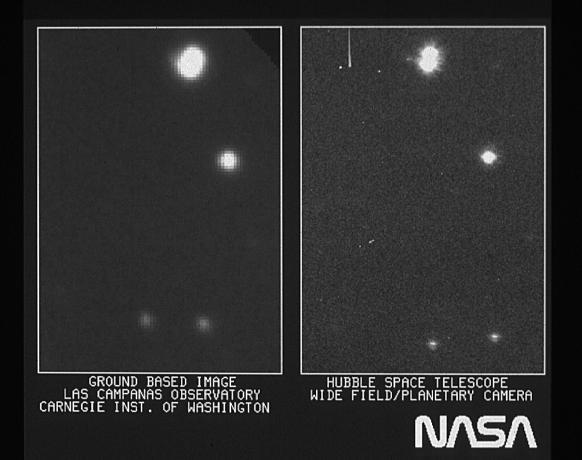 左图是同级别的地面望远镜拍摄的图像,右图是HST拍摄到的图像,右上角的双星更加明显