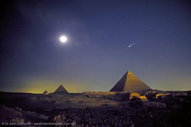 1997年4月10日,彗星在金字塔上的合影,4000多年前的古埃及人曾经目睹过它的上次回归