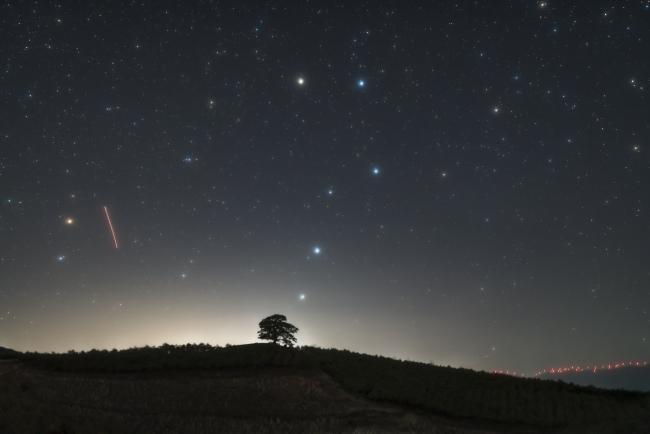 使用天文改机加柔焦滤镜拍摄到的大熊座——北斗七星。