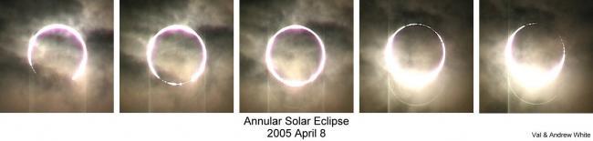 """发生在2005年4月8日的一次日全环食,形成的""""钻石环""""极细。发生在2005年4月8日的一次日全环食,形成的""""钻石环""""极细。"""