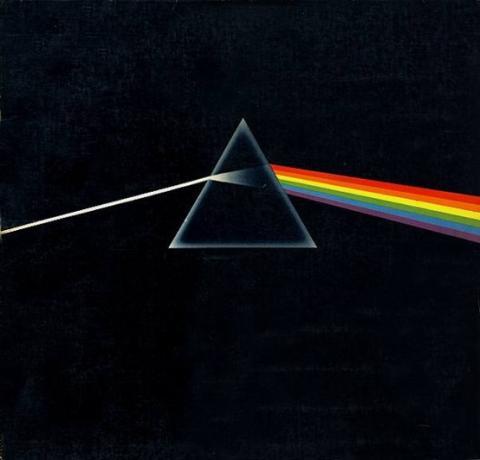 摇滚大师Pink Floyd专辑《the Dark side of the moon》封面,图中白光经过三棱镜折射