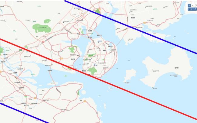 两条蓝线之间的区域可以看到日环食,红线表示日环食中心线,环食持续时间最长。两条蓝线之间的区域可以看到日环食,红线表示日环食中心线,环食持续时间最长。